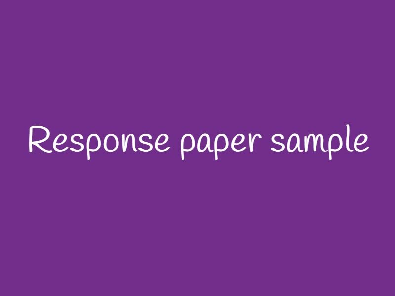 response-paper-sample